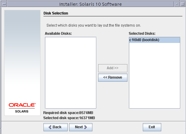 Disk selection solaris