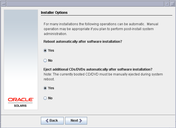 Installer options solaris
