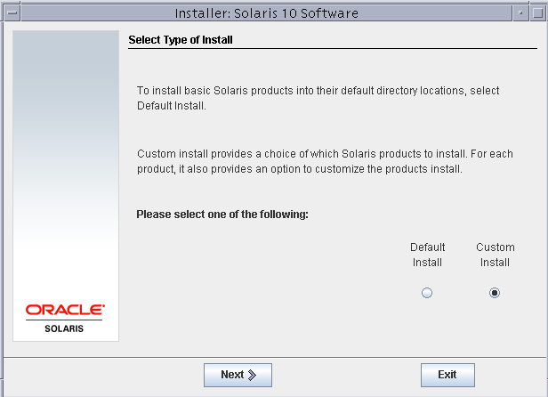 Select type of install solaris