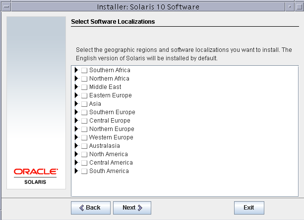Software localizations Solaris