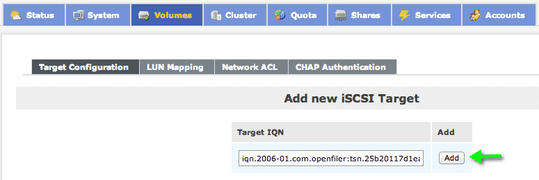 add iscsi target openfiler