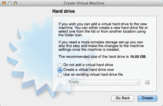 create virtual hard drive now