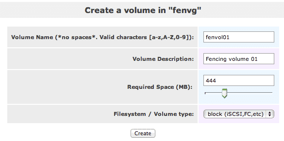 create volume in fenvg openfiler