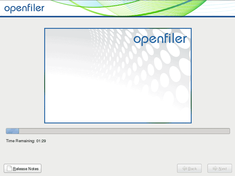 installation progress openfiler