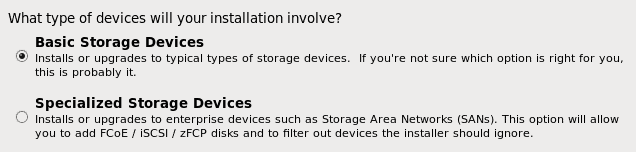 OEL 6.6 installation storage type