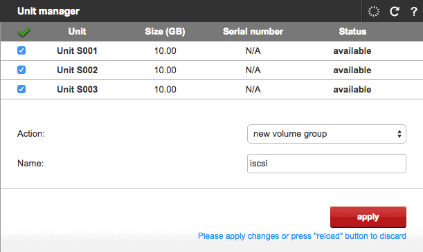 create iscsi volume group in open-e dss