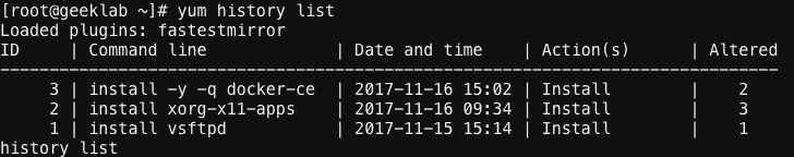 yum history list command output