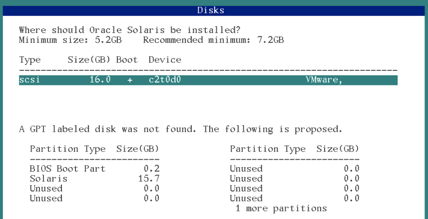 disk selection solaris 11 installation