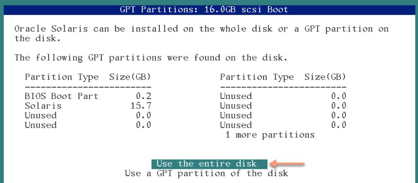 use entire disk for solaris 11 installation