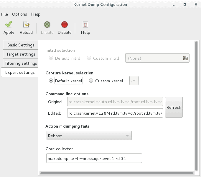 Expert settings tab - kdump configuration RHEL 7 using GUI