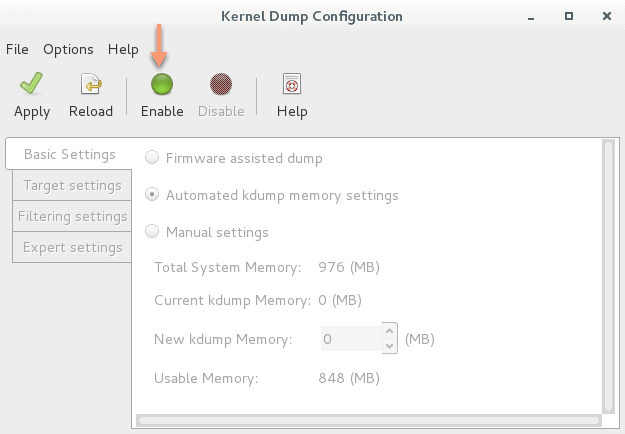 enable kdump RHEL 7 using GUI