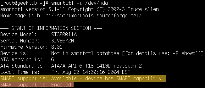 smatctl check if smartd is supported