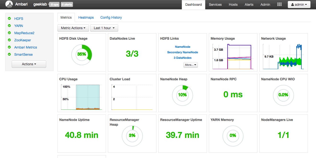 ambari server dashboard after installation