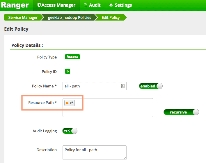 Edit policy in Ranger Admin UI - Ranger GDFS policy configuration