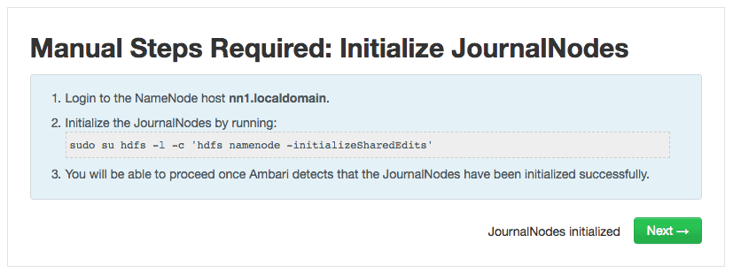 Initialize JournalNodes - NameNode HA using Ambari HDPCA