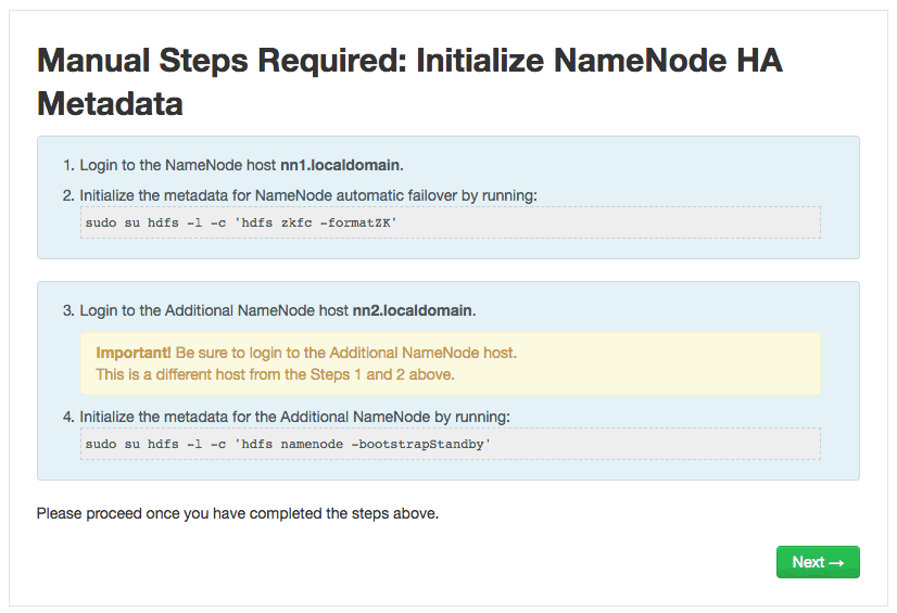 Initialize NameNode HA Metadata - HDPCA