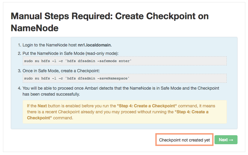 NameNode HA - safemode and create checkpoint HDPCA