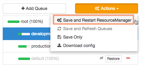 Save and Restart ResourceManager in YARN queue manager