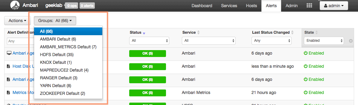 ambari filter alerts with respect to service groups in HDP
