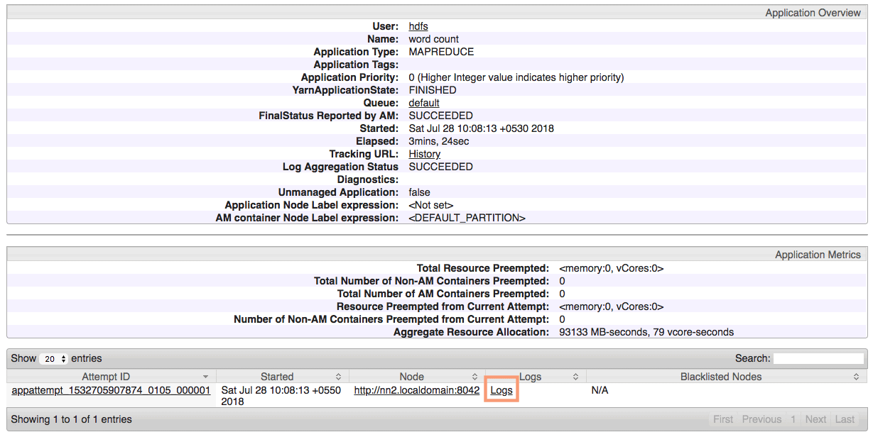 application job detailed status from ResourceManager UI