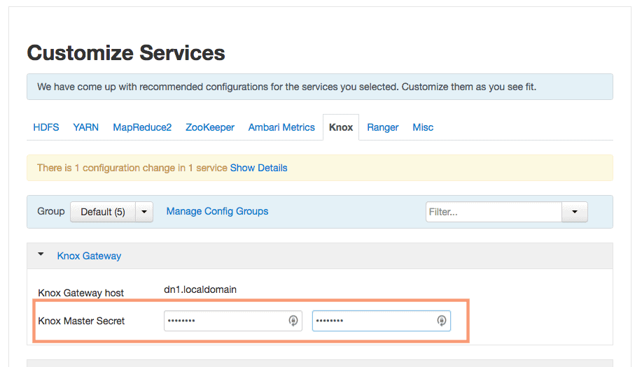 customize knox service in ambari HDPCA
