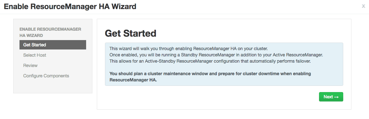 enable ResourceManager HA wizard HDPCA exam objective