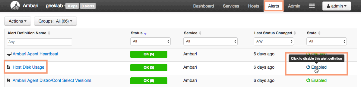 enabling or disabling alerts in ambari HDPCA