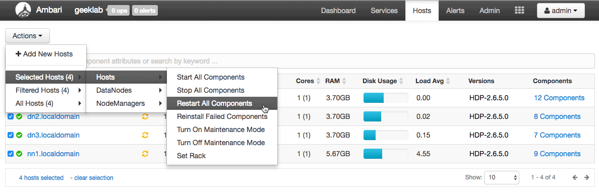 restart all the components HDP to change rack topology in hadoop