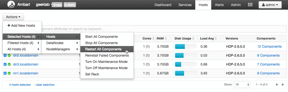 restart all the components HDPCA for rack awareness configuration