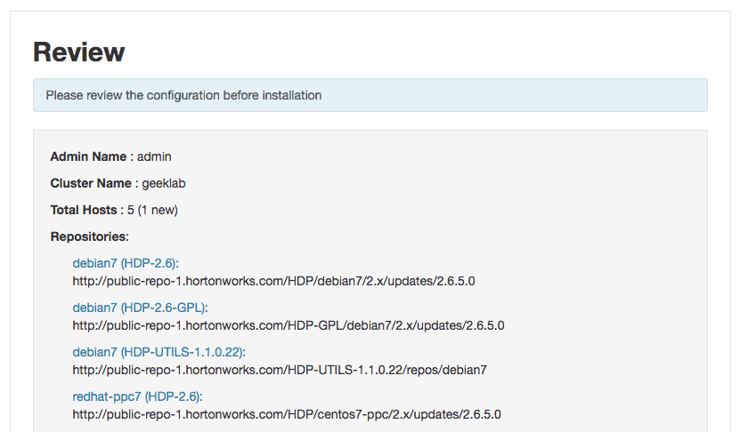 review the configuration - add new hosts to HDP using ambari