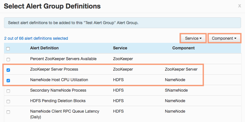 select alert group definitions in ambari HDPCA exam objective