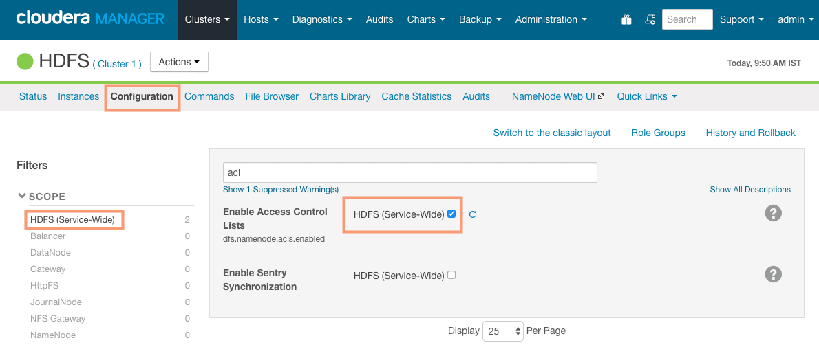 Enable HDFS ACL from cloudera manager