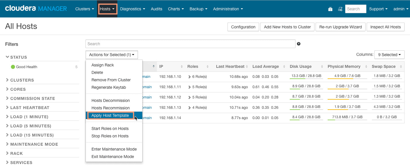 apply host template in cloudera manager CCA 131