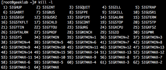 available kill signals in Linux