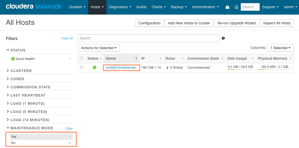 check maintenance mode status in Cloudera Manager