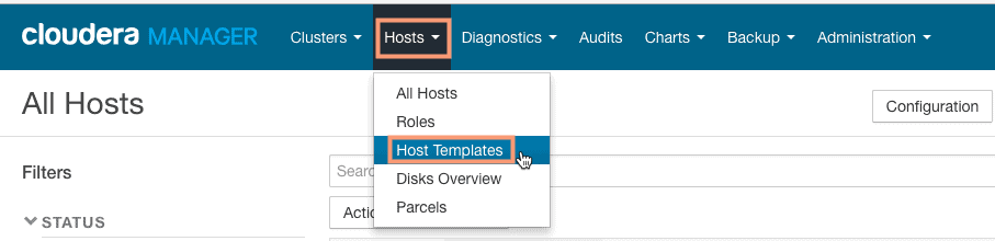 create new host template using cloudera manager CCA 131