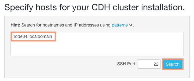 specify hosts for CDH installation - CCA 131 add host using cloudera manager