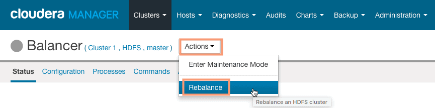 start the rebalance operation from cloudera manager CCA 131