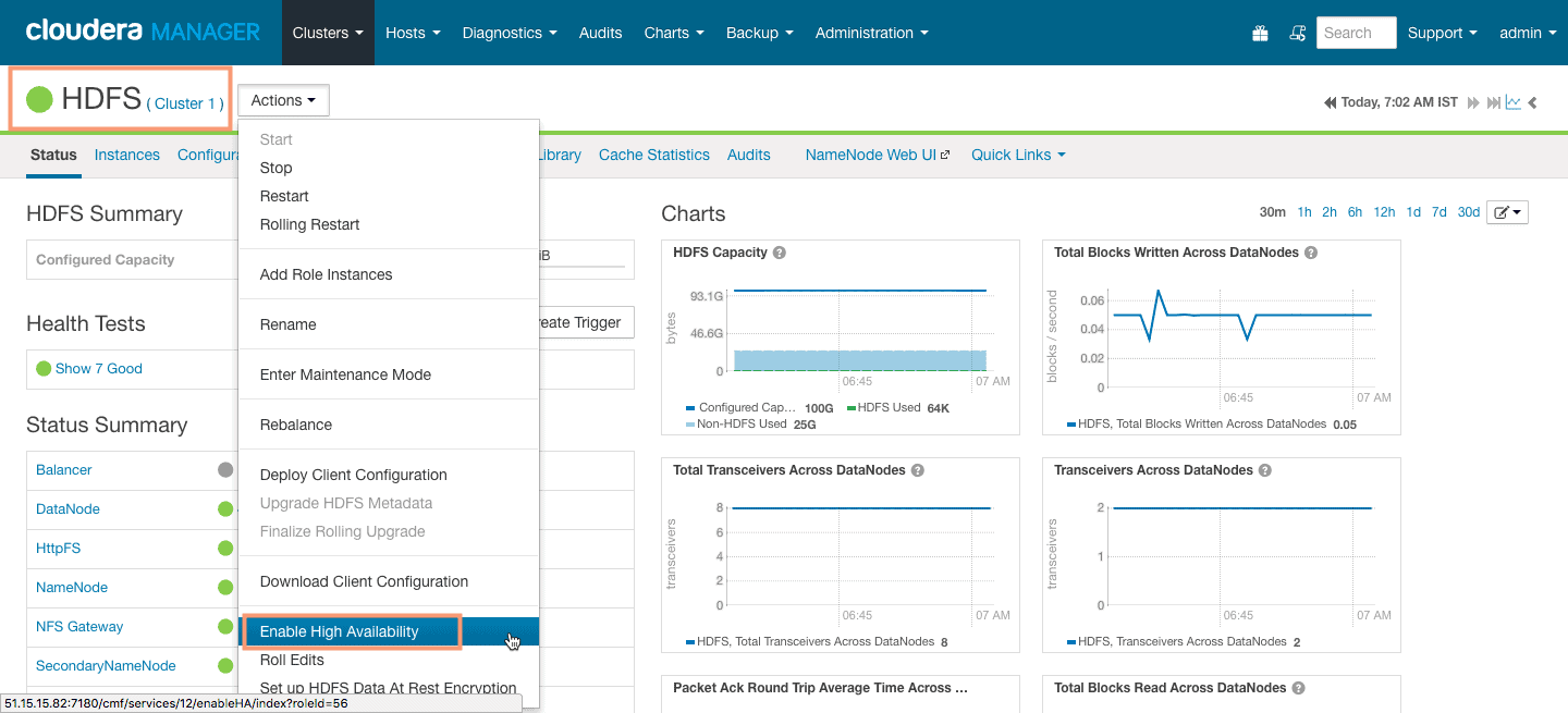 Enable High Availability for NameNode using Cloudera Manager