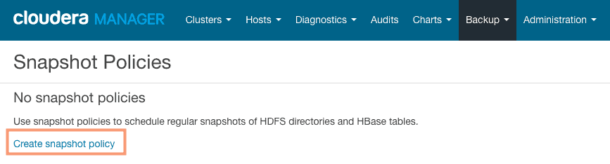 create new HDFS snapshot policy using Cloudera Manager CCA131