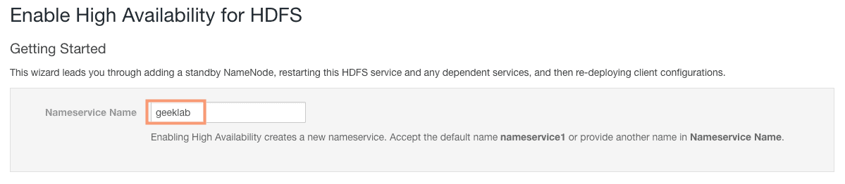 define nameservice for NameNode High Availability CCA131