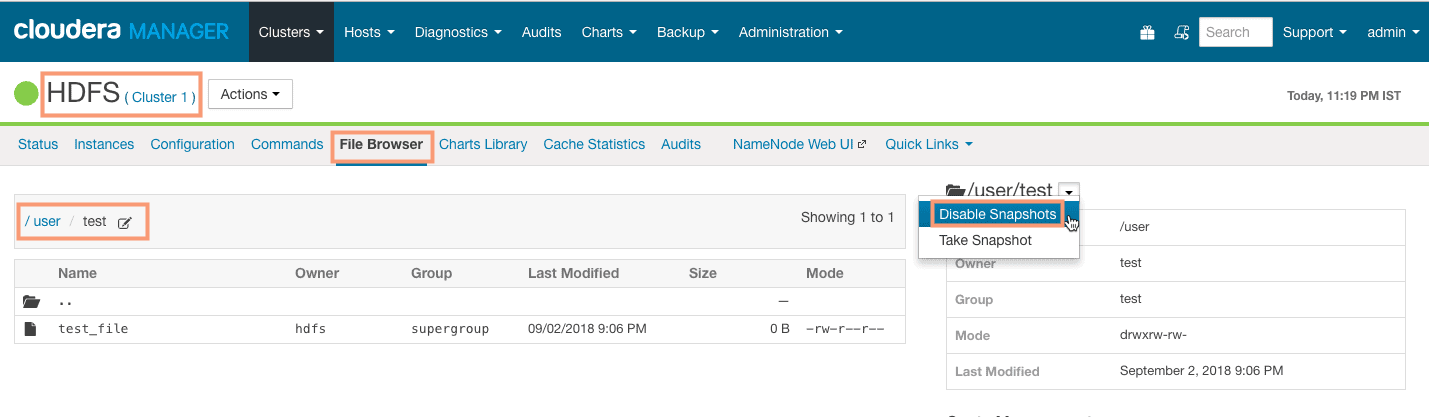 disabling HDFS snapshots from Cloudera Manager CCA 131