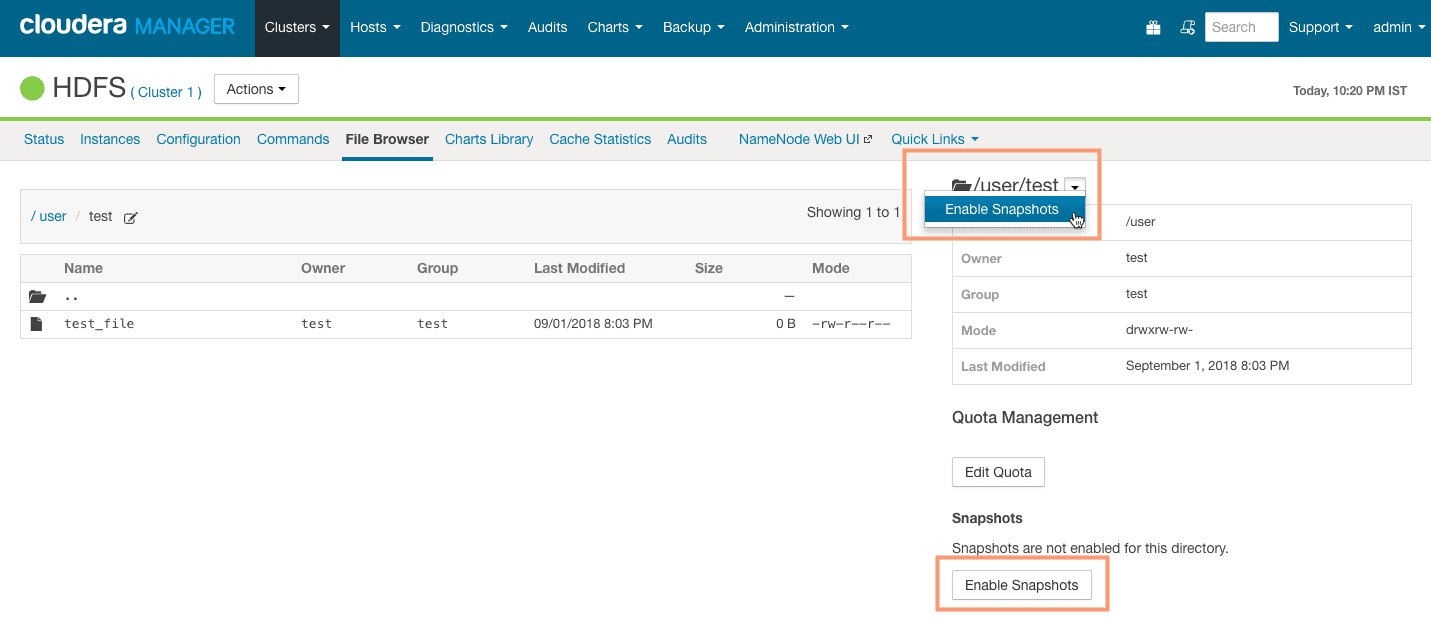 enabling snapshot from Cloudera Manager CCA 131