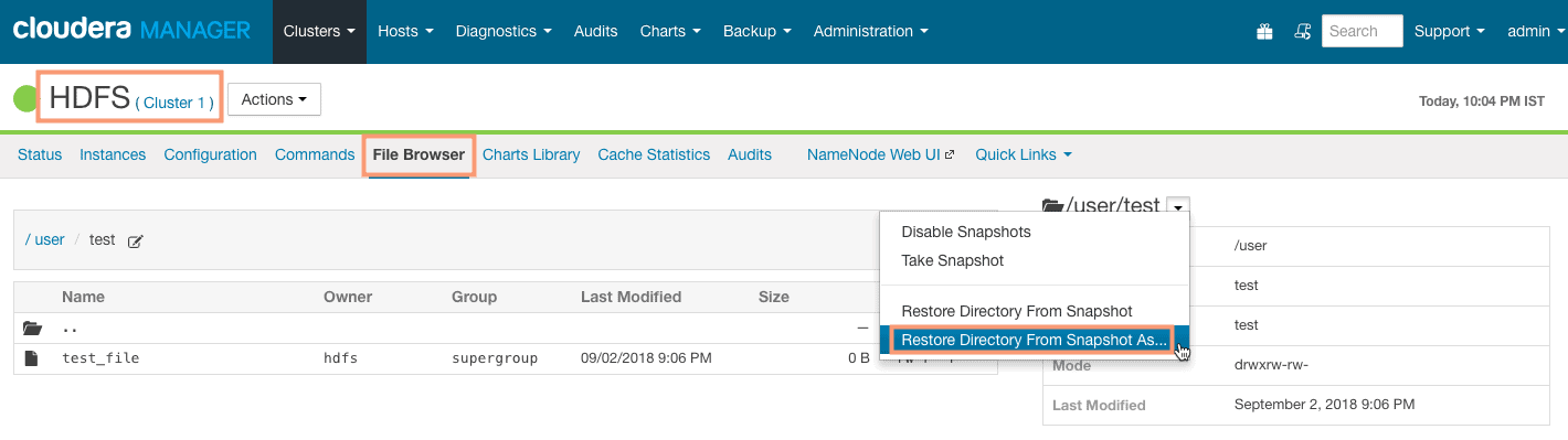 restore directory from snapshot as a different directory CCA 131 HDFS snapshot