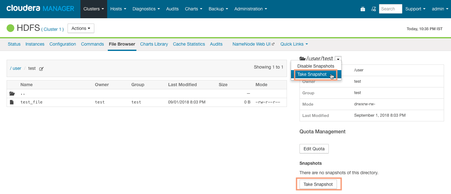 taking HDFS snapshot from Cloudera Manager CCA 131
