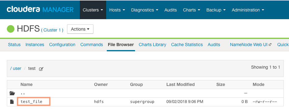 verify restoring HDFS snapshot from Cloudera Manager CCA 131