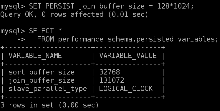 Persisted variables MySQL 8.0