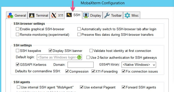 select SSH tab - ssh connection timeout Mobaxterm