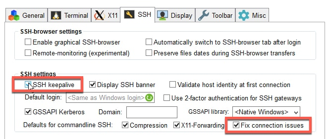 ssh keepalive and fix connection issue Mobaxterm