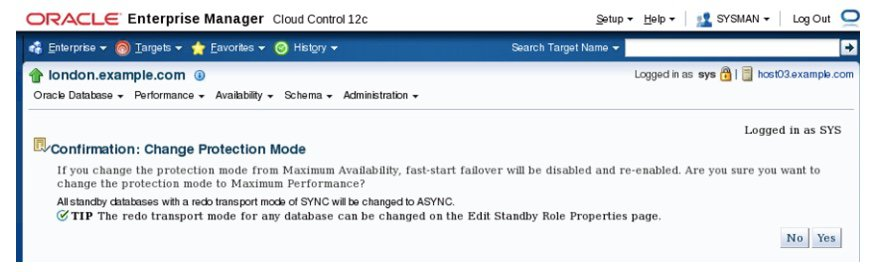 Changing the Protection Mode and Disabling Fast-Start Failover